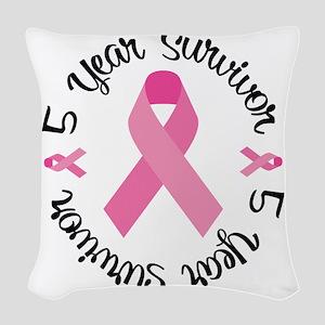 5 Year Survivor Woven Throw Pillow