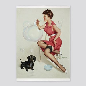 Pin Up Girl, Dog,Bubbles, Vintage Poster 5'X7'area