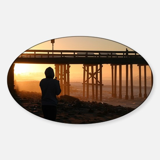 Photographer At Sunset Sticker (Oval)