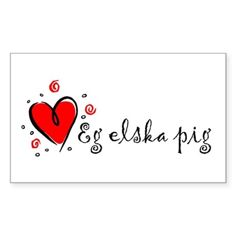 """I Love You"" [Icelandic] Rectangle Sticker"