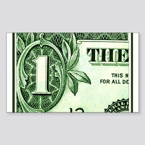$1 dollar bill art closeup Rectangular Sticker
