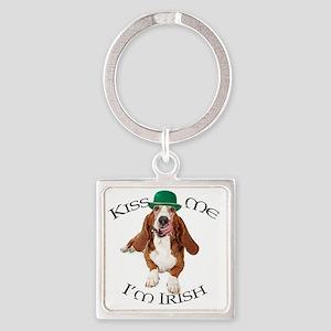 Basset Irish Kiss Square Keychain