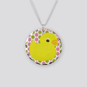 Rubber Duck on Pink and Green Necklace