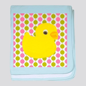 Rubber Duck on Pink and Green baby blanket