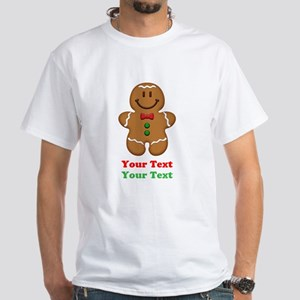 Personalize Little Gingerbread Man White T-Shirt