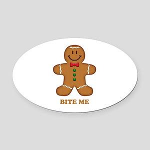 Gingerbread Man Bite Me Oval Car Magnet