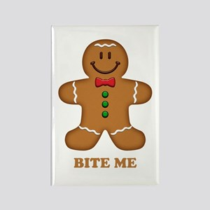 Gingerbread Man Bite Me Rectangle Magnet