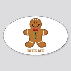 Gingerbread Man Bite Me Sticker (Oval)
