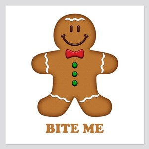 Gingerbread Man Bite Me 5.25 x 5.25 Flat Cards