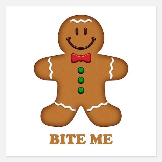 Gingerbread Man Bite Me 5.25 x 5.25 Flat Cards