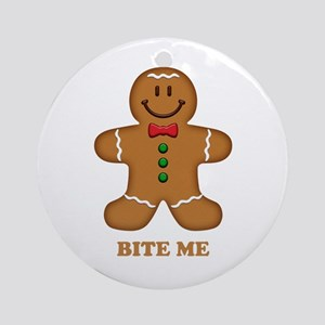 Gingerbread Man Bite Me Ornament (Round)