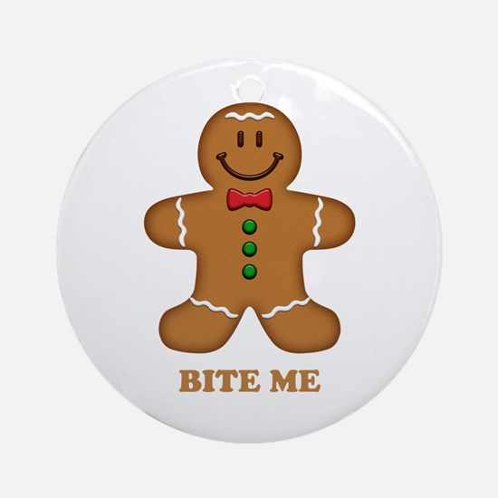 Gingerbread Man Bite Me Ornament (Round)
