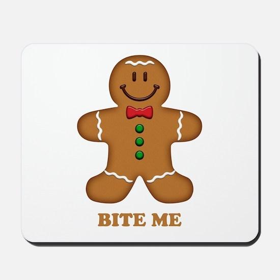 Gingerbread Man Bite Me Mousepad