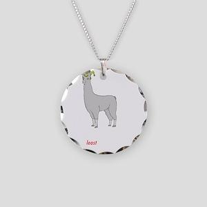 llama2-black Necklace Circle Charm