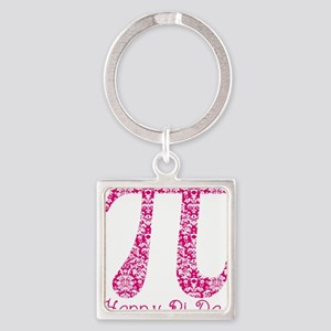 Fuscia Damask Pi Day Square Keychain