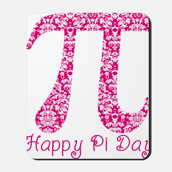 Fuscia Damask Pi Day Mousepad