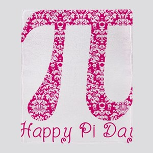 Fuscia Damask Pi Day Throw Blanket