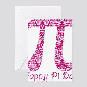 Fuscia Damask Pi Day Greeting Card