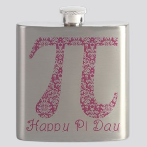 Fuscia Damask Pi Day Flask