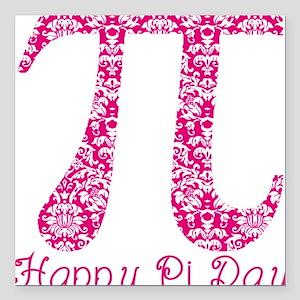 "Fuscia Damask Pi Day Square Car Magnet 3"" x 3"""