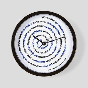 SpiralWrestlerWords Wall Clock