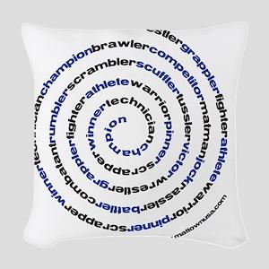 SpiralWrestlerWords Woven Throw Pillow
