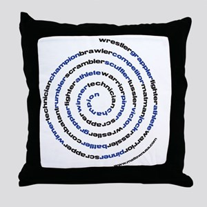SpiralWrestlerWords Throw Pillow