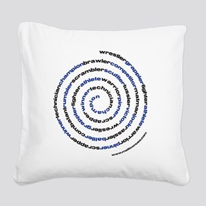 SpiralWrestlerWords Square Canvas Pillow