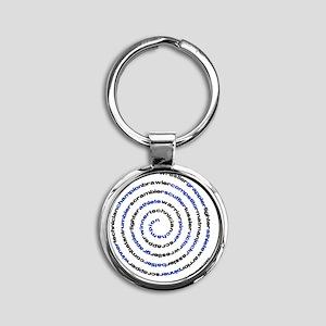 SpiralWrestlerWords Round Keychain