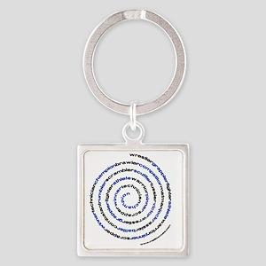 SpiralWrestlerWords Square Keychain