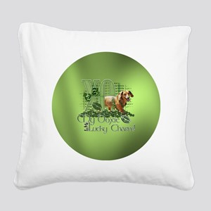 Doxie_Lucky_Charm_Circle2 Square Canvas Pillow