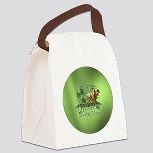 Doxie_Lucky_Charm_Circle2 Canvas Lunch Bag