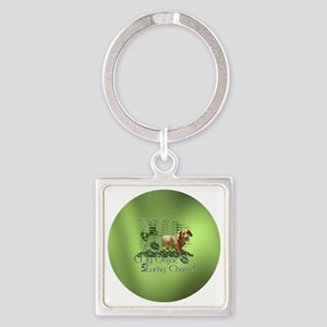 Doxie_Lucky_Charm_Circle2 Square Keychain