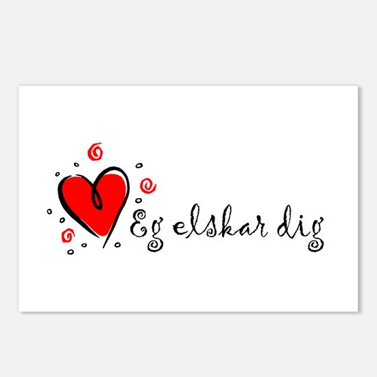 """""""I Love You"""" [Danish] Postcards (Package of 8)"""