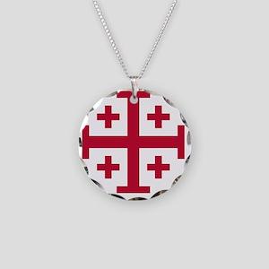 Cross Potent - Jerusalem - R Necklace Circle Charm