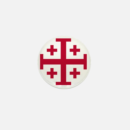 Cross Potent - Jerusalem - Red Mini Button