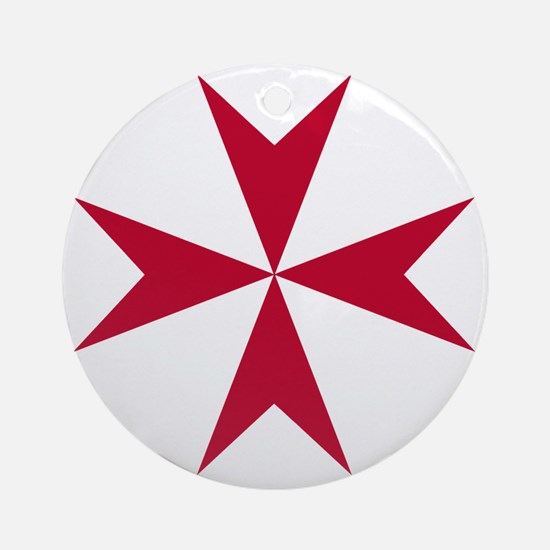 Cross of Malta - Red Round Ornament