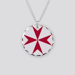 Cross of Malta - Red Necklace Circle Charm
