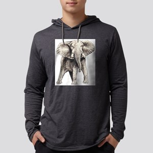 Elephant drawing Mens Hooded Shirt