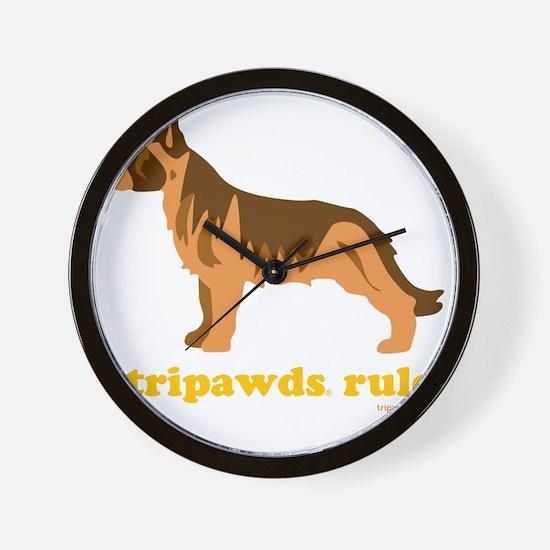 Tripawds Rule Three Legged GSD Dark BKG Wall Clock