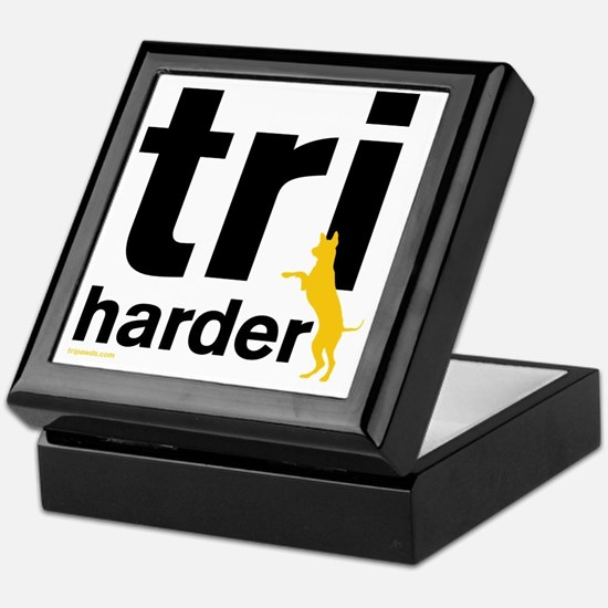 Tri Harder Three Legged GSD White BKG Keepsake Box