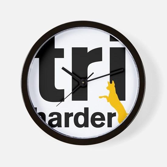 Tri Harder Three Legged GSD White BKG Wall Clock