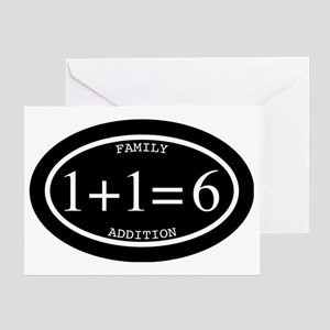 Family Addition Oval Inverted 6 Greeting Card
