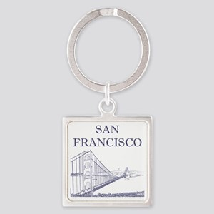 GoldenGateBridge_10x10_apparel_Blu Square Keychain