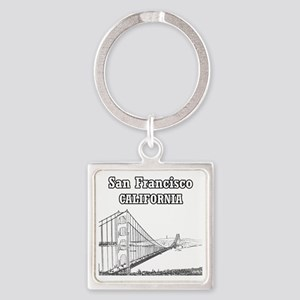 GoldenGateBridge_10x10_apparel_Bla Square Keychain