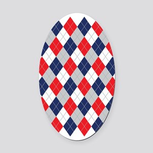 Norwegian Curling Argyle pattern Oval Car Magnet