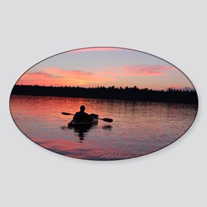Kayaking at Sunset Sticker (Oval)
