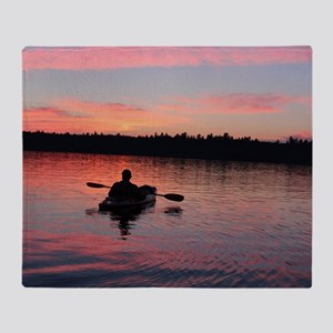Kayaking at Sunset Throw Blanket