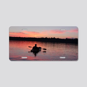 Kayaking at Sunset Aluminum License Plate