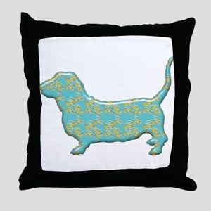 Paisley Basset Throw Pillow